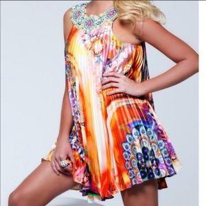 Sherri Hill Multicolored Beaded Accordion Dress. P